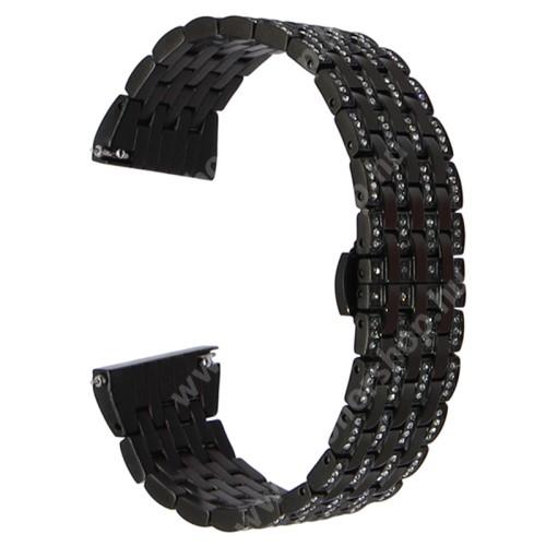 HUAWEI Honor MagicWatch 2 42mm Okosóra szíj - rozsdamentes acél, strassz köves díszítésű - FEKETE - 20mm széles - SAMSUNG Galaxy Watch 42mm / Xiaomi Amazfit GTS / SAMSUNG Gear S2 / HUAWEI Watch GT 2 42mm / Galaxy Watch Active / Active 2