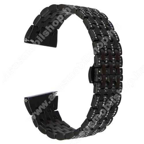 Okosóra szíj - rozsdamentes acél, strassz köves díszítésű - FEKETE - 20mm széles - SAMSUNG Galaxy Watch 42mm / Xiaomi Amazfit GTS / SAMSUNG Gear S2 / HUAWEI Watch GT 2 42mm / Galaxy Watch Active / Active 2