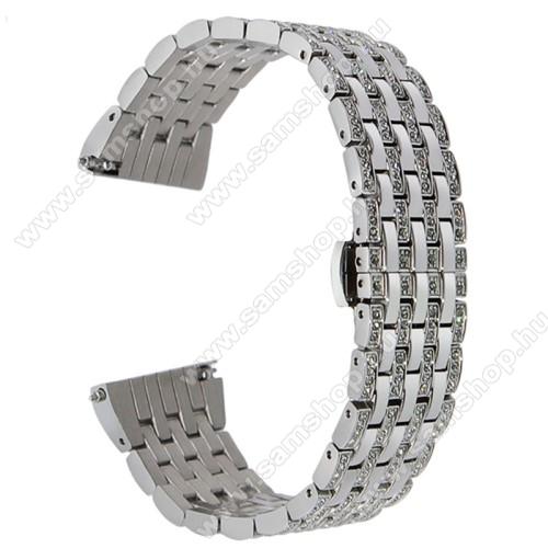 Okosóra szíj - rozsdamentes acél, strassz köves díszítésű - EZÜST - 20mm széles - SAMSUNG Galaxy Watch 42mm / Xiaomi Amazfit GTS / SAMSUNG Gear S2 / HUAWEI Watch GT 2 42mm / Galaxy Watch Active / Active 2