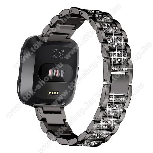 Okosóra szíj - rozsdamentes acél, strassz köves, 230mm hosszú, 22mm széles - FEKETE - Fitbit Versa / Fitbit Versa Lite / Fitbit Versa 2