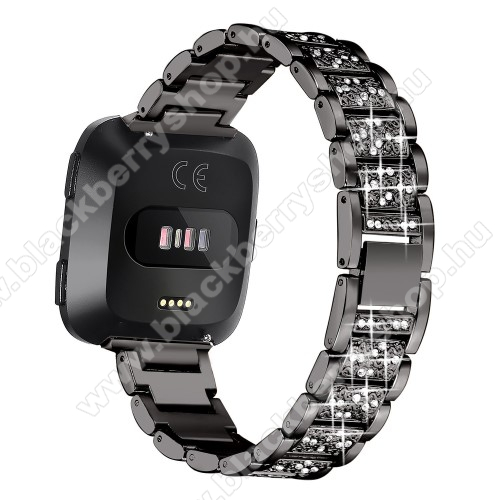 Okosóra szíj - rozsdamentes acél, strassz köves, 230mm hosszú, 23mm széles - FEKETE - Fitbit Versa / Fitbit Versa Lite / Fitbit Versa 2