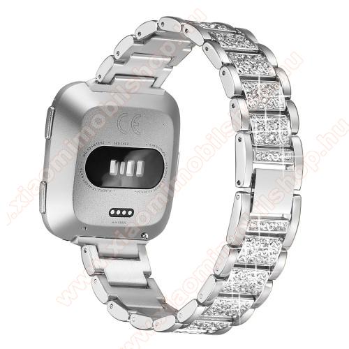 Okosóra szíj - rozsdamentes acél, strassz köves, 230mm hosszú, 23mm széles - EZÜST - Fitbit Versa / Fitbit Versa Lite / Fitbit Versa 2