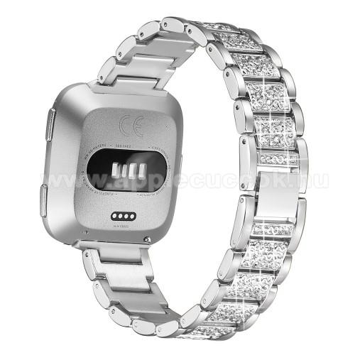 Okosóra szíj - rozsdamentes acél, strassz köves, 230mm hosszú, 22mm széles - EZÜST - Fitbit Versa / Fitbit Versa Lite / Fitbit Versa 2