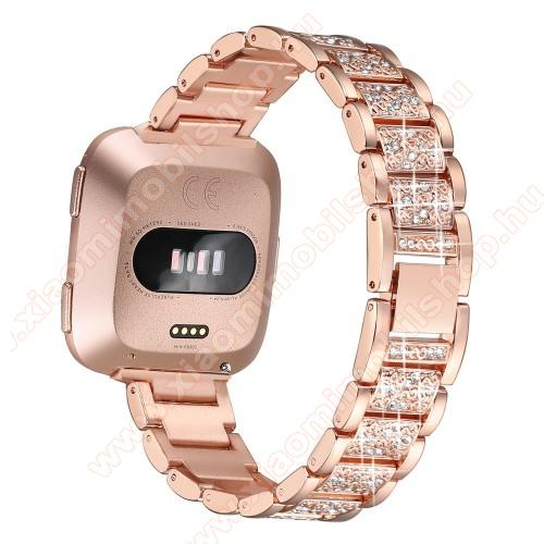 Okosóra szíj - rozsdamentes acél, strassz köves, 230mm hosszú, 23mm széles - ROSE GOLD - Fitbit Versa / Fitbit Versa Lite / Fitbit Versa 2