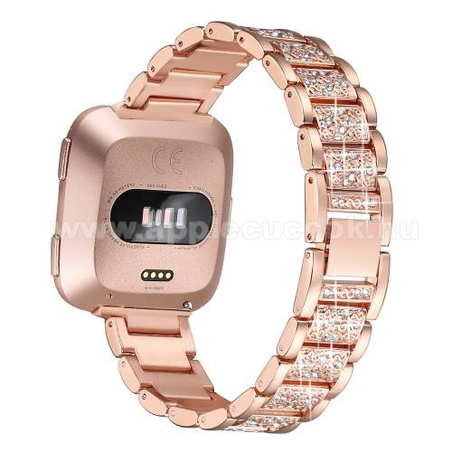 Okosóra szíj - rozsdamentes acél, strassz köves, 230mm hosszú, 22mm széles - ROSE GOLD - Fitbit Versa / Fitbit Versa Lite / Fitbit Versa 2
