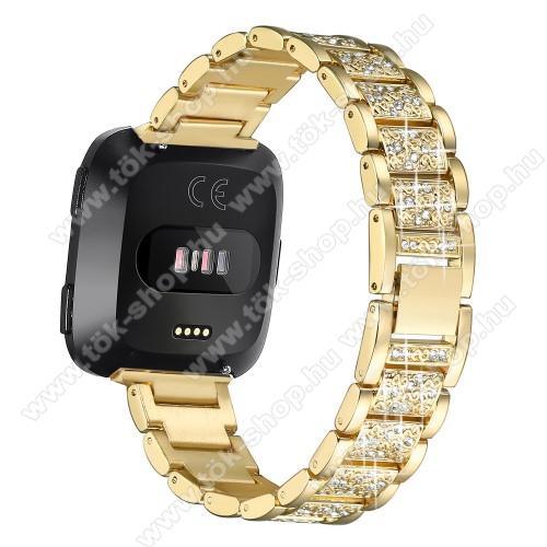 Okosóra szíj - rozsdamentes acél, strassz köves, 230mm hosszú, 22mm széles - ARANY - Fitbit Versa / Fitbit Versa Lite / Fitbit Versa 2
