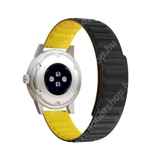 Okosóra szíj - rugalmas, szilikon, mágneses - FEKETE / CITROMSÁRGA - 90mm+130mm hosszú, 20mm széles - SAMSUNG Galaxy Watch 42mm / Xiaomi Amazfit GTS / Gear S2 / HUAWEI Watch GT 2 42mm / Watch Active / Active 2 / Watch4