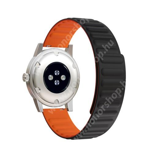 Okosóra szíj - rugalmas, szilikon, mágneses - FEKETE / NARANCSSÁRGA - 90mm+130mm hosszú, 20mm széles - SAMSUNG Galaxy Watch 42mm / Xiaomi Amazfit GTS / Gear S2 / HUAWEI Watch GT 2 42mm / Watch Active / Active 2 / Watch4