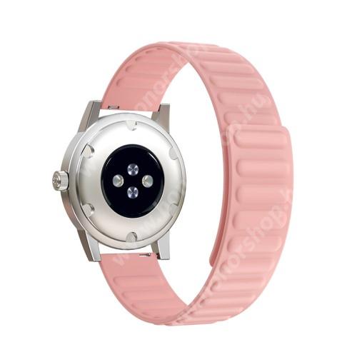 Okosóra szíj - rugalmas, szilikon, mágneses - RÓZSASZÍN - 90mm+130mm hosszú, 20mm széles - SAMSUNG Galaxy Watch 42mm / Xiaomi Amazfit GTS / Gear S2 / HUAWEI Watch GT 2 42mm / Watch Active / Active 2 / Watch4