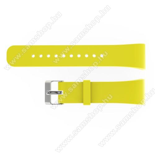 SAMSUNG SM-R360 Gear Fit 2Okosóra szíj - SÁRGA - szilikon, 20cm hosszú és 2cm széles - SAMSUNG Gear Fit 2 SM-R360 / Samsung Gear Fit 2 Pro SM-R365 - 128.29mm + 72.07mm hosszú