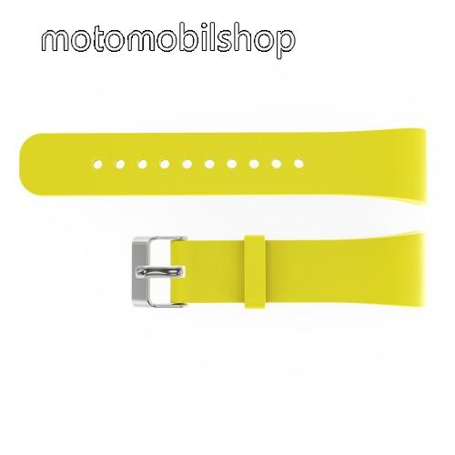 Okosóra szíj - SÁRGA - szilikon, 20cm hosszú és 2cm széles - SAMSUNG Gear Fit 2 SM-R360 / Samsung Gear Fit 2 Pro SM-R365 - 128.29mm + 72.07mm hosszú
