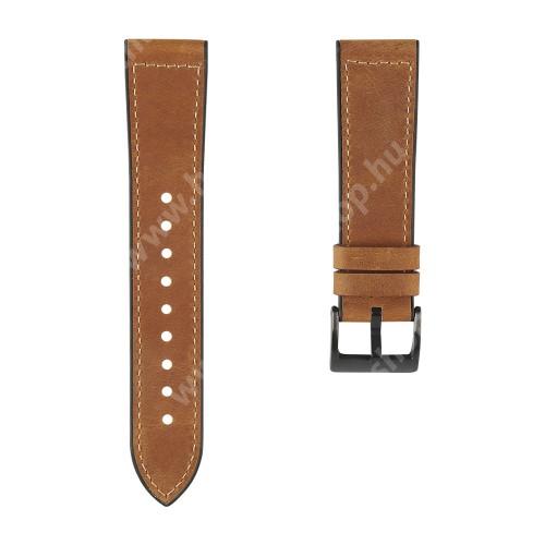 HUAWEI Watch GT 2 42mm Okosóra szíj - SÖTÉTBARNA - szilikon / PU bőrrel bevont - 90mm + 120mm hosszú, 20mm széles, 130-210mm-es átmérőjű csuklóméretig - SAMSUNG Galaxy Watch 42mm / Amazfit GTS / Galaxy Watch3 41mm / HUAWEI Watch GT 2 42mm / Watch Active / Active 2