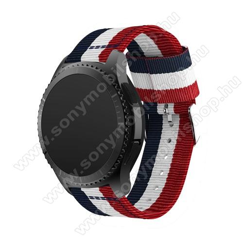 Okosóra szíj - SÖTÉTKÉK / FEHÉR /PIROS - Szövet - 95mm + 81mm hosszú, 22mm széles - SAMSUNG Galaxy Watch 46mm / SAMSUNG Gear S3 Classic / SAMSUNG Gear S3 Frontier