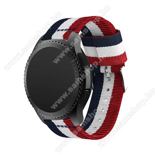 SAMSUNG Galaxy Watch 46mm (SM-R800NZ)Okosóra szíj - SÖTÉTKÉK / FEHÉR /PIROS - Szövet - 95mm + 81mm hosszú, 22mm széles - SAMSUNG Galaxy Watch 46mm / SAMSUNG Gear S3 Classic / SAMSUNG Gear S3 Frontier