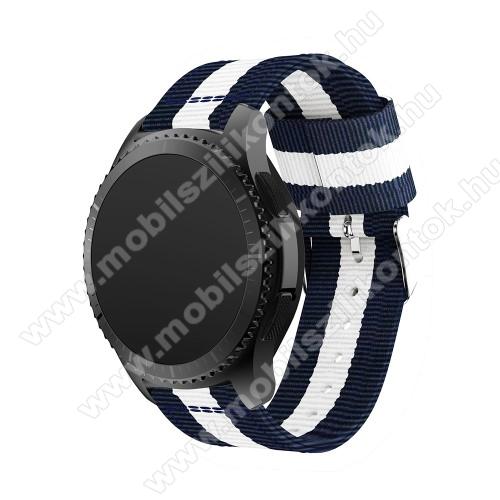 Okosóra szíj - SÖTÉTKÉK / FEHÉR - Szövet - 86 + 125mm hosszú, 22mm széles - SAMSUNG Galaxy Watch 46mm / SAMSUNG Gear S3 Classic / SAMSUNG Gear S3 Frontier