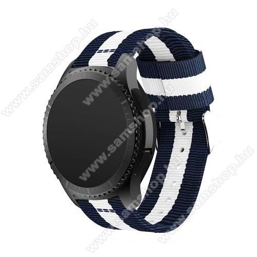 SAMSUNG Galaxy Watch3 45mm (SM-R845F)Okosóra szíj - SÖTÉTKÉK / FEHÉR - Szövet - 86 + 125mm hosszú, 22mm széles - SAMSUNG Galaxy Watch 46mm / SAMSUNG Gear S3 Classic / SAMSUNG Gear S3 Frontier