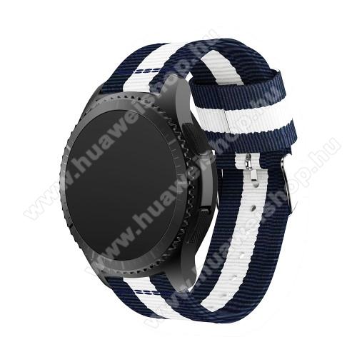 HUAWEI Watch 2 ProOkosóra szíj - SÖTÉTKÉK / FEHÉR - Szövet - 86 + 125mm hosszú, 22mm széles - SAMSUNG Galaxy Watch 46mm / SAMSUNG Gear S3 Classic / SAMSUNG Gear S3 Frontier