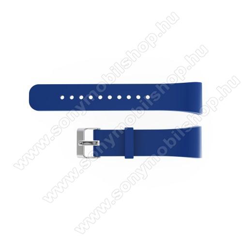 Okosóra szíj - SÖTÉTKÉK - szilikon, 20cm hosszú és 2cm széles - SAMSUNG Gear Fit 2 SM-R360 / Samsung Gear Fit 2 Pro SM-R365 - 128.29mm + 72.07mm hosszú