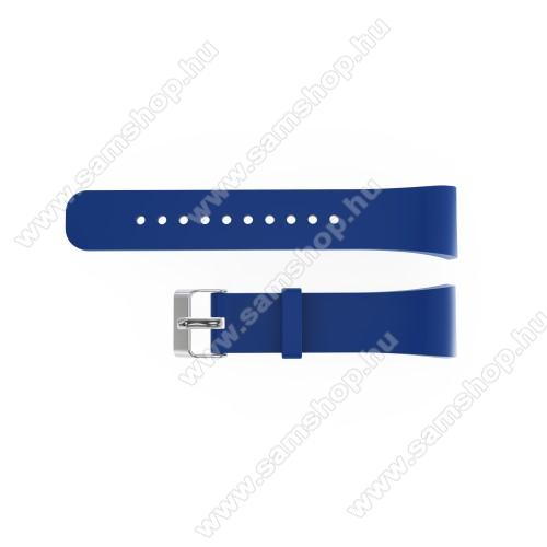 SAMSUNG SM-R360 Gear Fit 2Okosóra szíj - SÖTÉTKÉK - szilikon, 20cm hosszú és 2cm széles - SAMSUNG Gear Fit 2 SM-R360 / Samsung Gear Fit 2 Pro SM-R365 - 128.29mm + 72.07mm hosszú