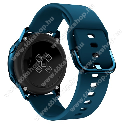 Okosóra szíj - SÖTÉTKÉK - szilikon - 83mm + 116mm hosszú, 20mm széles, 130mm-től 205mm-es méretű csuklóig ajánlott - SAMSUNG Galaxy Watch 42mm / Xiaomi Amazfit GTS / SAMSUNG Gear S2 / HUAWEI Watch GT 2 42mm / Galaxy Watch Active / Active 2