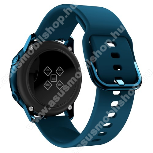 Okosóra szíj - SÖTÉTKÉK - szilikon - 83mm + 116mm hosszú, 20mm széles, 130mm-től 205mm-es méretű csuklóig ajánlott - SAMSUNG Galaxy Watch 42mm / Xiaomi Amazfit GTS / SAMSUNG Gear S2 / HUAWEI Watch GT 2 42mm / Galaxy Watch Active / Active 2