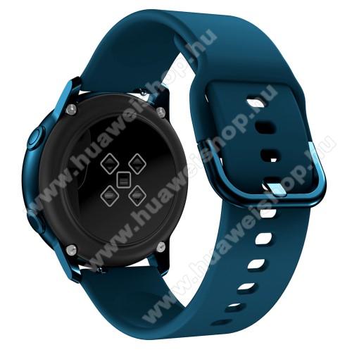 HUAWEI Honor MagicWatch 2 42mmOkosóra szíj - SÖTÉTKÉK - szilikon - 83mm + 116mm hosszú, 20mm széles, 130mm-től 205mm-es méretű csuklóig ajánlott - SAMSUNG Galaxy Watch 42mm / Xiaomi Amazfit GTS / SAMSUNG Gear S2 / HUAWEI Watch GT 2 42mm / Galaxy Watch Active / Active 2