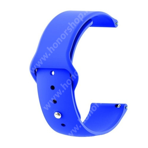 HUAWEI Honor MagicWatch 2 42mm Okosóra szíj - SÖTÉTKÉK - szilikon - 85mm + 95mm hosszú, 20mm széles - SAMSUNG Galaxy Watch 42mm / Xiaomi Amazfit GTS / SAMSUNG Gear S2 / HUAWEI Watch GT 2 42mm / Galaxy Watch Active / Active 2