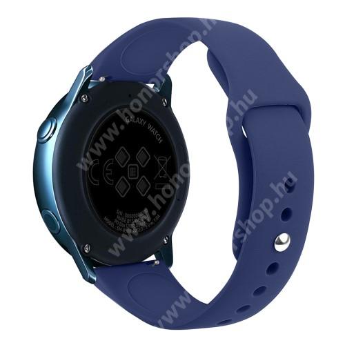 HUAWEI Honor MagicWatch 2 42mm Okosóra szíj - SÖTÉTKÉK - szilikon - 95mm + 130mm hosszú, 20mm széles, 170mm-től 225mm-es méretű csuklóig ajánlott - SAMSUNG Galaxy Watch 42mm / Xiaomi Amazfit GTS / SAMSUNG Gear S2 / HUAWEI Watch GT 2 42mm / Galaxy Watch Active / Active 2