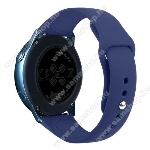 SAMSUNG Galaxy Watch Active2 40mmOkosóra szíj - SÖTÉTKÉK - szilikon - 95mm + 130mm hosszú, 20mm széles, 170mm-től 225mm-es méretű csuklóig ajánlott - SAMSUNG Galaxy Watch 42mm / Xiaomi Amazfit GTS / SAMSUNG Gear S2 / HUAWEI Watch GT 2 42mm / Galaxy Watch Active / Active 2