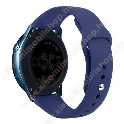 Xiaomi Amazfit BIP LiteOkosóra szíj - SÖTÉTKÉK - szilikon - 95mm + 130mm hosszú, 20mm széles, 170mm-től 225mm-es méretű csuklóig ajánlott - SAMSUNG Galaxy Watch 42mm / Xiaomi Amazfit GTS / SAMSUNG Gear S2 / HUAWEI Watch GT 2 42mm / Galaxy Watch Active / Active 2
