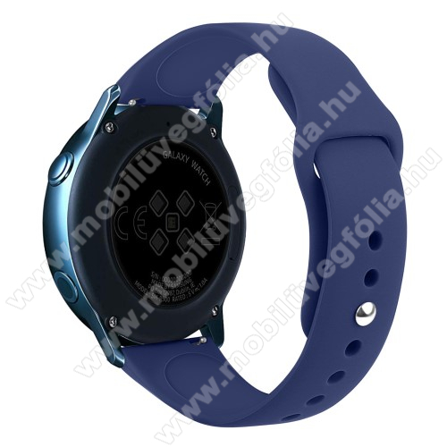 HUAWEI MagicWatch 2 42mm Okosóra szíj - SÖTÉTKÉK - szilikon - 95mm + 130mm hosszú, 20mm széles, 170mm-től 225mm-es méretű csuklóig ajánlott - SAMSUNG Galaxy Watch 42mm / Xiaomi Amazfit GTS / HUAWEI Watch GT / SAMSUNG Gear S2 / HUAWEI Watch GT 2 42mm / Galaxy Watch Active / Active