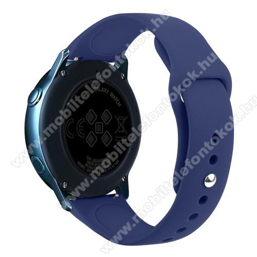 Xiaomi Amazfit NeoOkosóra szíj - SÖTÉTKÉK - szilikon - 95mm + 130mm hosszú, 20mm széles, 170mm-től 225mm-es méretű csuklóig ajánlott - SAMSUNG Galaxy Watch 42mm / Xiaomi Amazfit GTS / SAMSUNG Gear S2 / HUAWEI Watch GT 2 42mm / Galaxy Watch Active / Active 2
