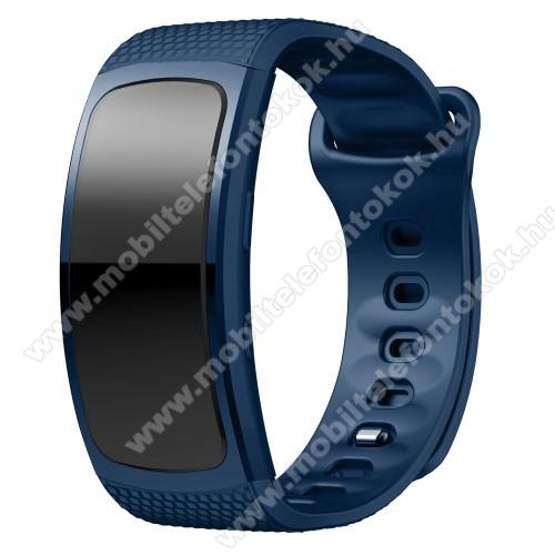 Okosóra szíj - SÖTÉTKÉK - szilikon, L-es méret, 90mm+123mm hosszú, 150mm-től 213mm-es méretű csuklóig ajánlott - SAMSUNG Gear Fit 2 SM-R360 / Samsung Gear Fit 2 Pro SM-R365