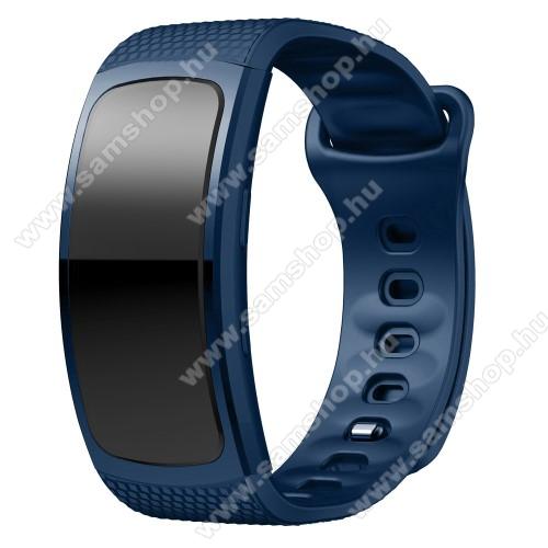 SAMSUNG Gear Fit 2 Pro (SM-R365)Okosóra szíj - SÖTÉTKÉK - szilikon, S-es méret, 95mm+90mm hosszú, 126mm-től 175mm-es méretű csuklóig ajánlott - SAMSUNG Gear Fit 2 SM-R360 / Samsung Gear Fit 2 Pro SM-R365