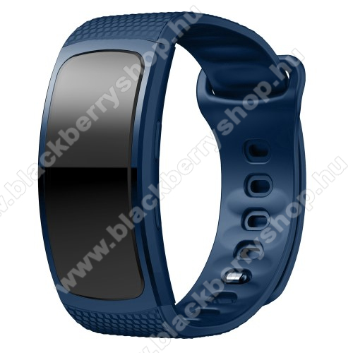 Okosóra szíj - SÖTÉTKÉK - szilikon, S-es méret, 95mm+90mm hosszú, 126mm-től 175mm-es méretű csuklóig ajánlott - SAMSUNG Gear Fit 2 SM-R360 / Samsung Gear Fit 2 Pro SM-R365