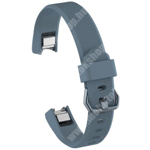 Okosóra szíj - SÖTÉTKÉK - szilikon, Twill mintás, 93 + 70mm hosszú, 15mm széles - Fitbit Alta HR