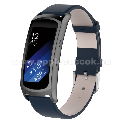 Okosóra szíj - SÖTÉTKÉK - valódi bőr - 128mm + 100mm, 18mm széles - SAMSUNG Gear Fit 2 SM-R360 / Samsung Gear Fit 2 Pro SM-R365
