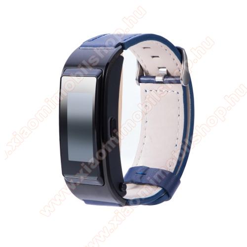 Xiaomi Mi WatchOkosóra szíj - SÖTÉTKÉK - valódi bőr - 139mm+92mm hosszú, 18mm széles -  Xiaomi Mi Watch / Fossil Gen 4 / HUAWEI TalkBand B5