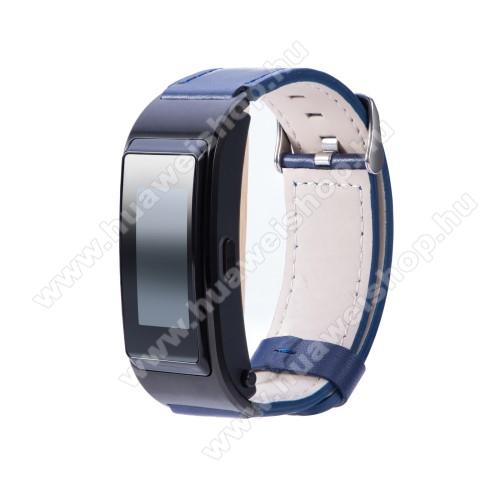 HUAWEI TalkBand B5Okosóra szíj - SÖTÉTKÉK - valódi bőr - 139mm+92mm hosszú, 18mm széles -  Xiaomi Mi Watch / Fossil Gen 4 / HUAWEI TalkBand B5