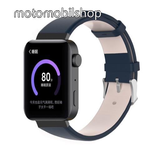 Okosóra szíj - SÖTÉTKÉK - valódi bőr - 18mm széles, 155-198mm átmérőjű csuklóméretig - Xiaomi Mi Watch / Fitbit Charge 3 / Fossil Gen 4 / HUAWEI TalkBand B5