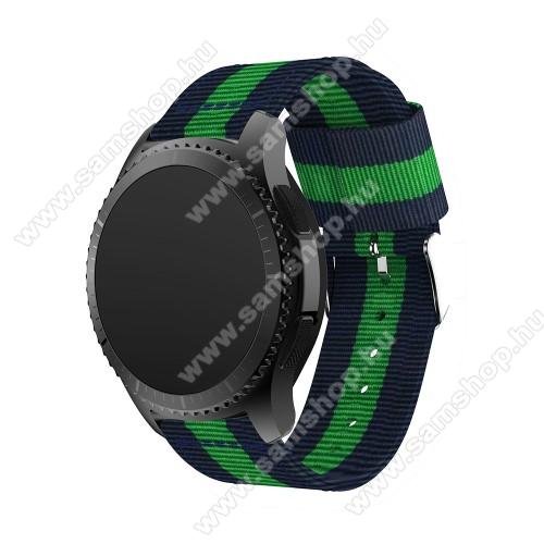 SAMSUNG Galaxy Watch3 45mm (SM-R845F)Okosóra szíj - SÖTÉTKÉK / ZÖLD - Szövet - 95mm + 81mm hosszú, 22mm széles - SAMSUNG Galaxy Watch 46mm / SAMSUNG Gear S3 Classic / SAMSUNG Gear S3 Frontier