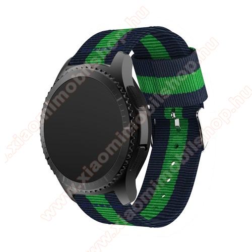 Xiaomi AmazfitOkosóra szíj - SÖTÉTKÉK / ZÖLD - Szövet - 95mm + 81mm hosszú, 22mm széles - SAMSUNG Galaxy Watch 46mm / SAMSUNG Gear S3 Classic / SAMSUNG Gear S3 Frontier