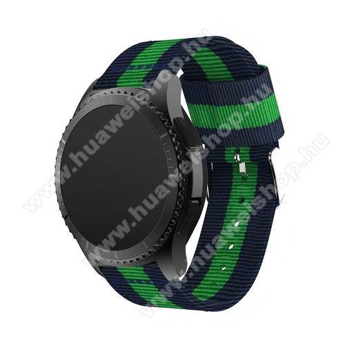 HUAWEI Watch 2 ProOkosóra szíj - SÖTÉTKÉK / ZÖLD - Szövet - 95mm + 81mm hosszú, 22mm széles - SAMSUNG Galaxy Watch 46mm / SAMSUNG Gear S3 Classic / SAMSUNG Gear S3 Frontier