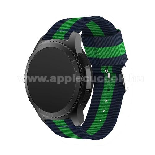 Okosóra szíj - SÖTÉTKÉK / ZÖLD - Szövet - 95mm + 81mm hosszú, 22mm széles - SAMSUNG Galaxy Watch 46mm / SAMSUNG Gear S3 Classic / SAMSUNG Gear S3 Frontier