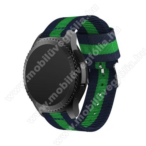 HUAWEI Honor MagicWatch 2 46mmOkosóra szíj - SÖTÉTKÉK / ZÖLD - Szövet - 95mm + 81mm hosszú, 22mm széles - SAMSUNG Galaxy Watch 46mm / SAMSUNG Gear S3 Classic / SAMSUNG Gear S3 Frontier