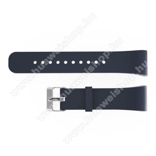 Okosóra szíj - SÖTÉTSZÜRKE - szilikon, 20cm hosszú és 2cm széles - SAMSUNG Gear Fit 2 SM-R360 / Samsung Gear Fit 2 Pro SM-R365 - 128.29mm + 72.07mm hosszú