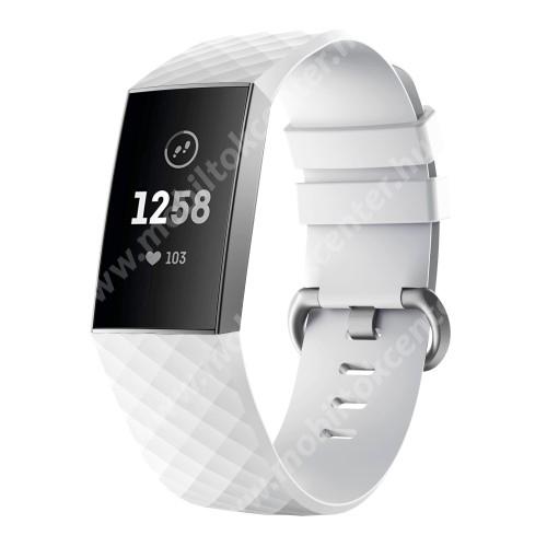 Okosóra szíj - szilikon, 255mm hosszú, L-es méret - FEHÉR - Fitbit Charge 3 / Fitbit Charge 3 SE / Fitbit Charge 4