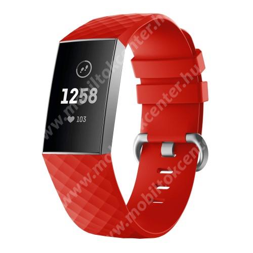 Okosóra szíj - szilikon, 255mm hosszú, L-es méret - PIROS - Fitbit Charge 3 / Fitbit Charge 3 SE / Fitbit Charge 4