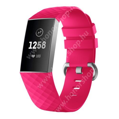 Okosóra szíj - szilikon, 255mm hosszú, L-es méret - MAGENTA - Fitbit Charge 3 / Fitbit Charge 3 SE / Fitbit Charge 4