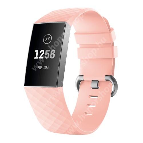 Okosóra szíj - szilikon, 255mm hosszú, L-es méret - RÓZSASZÍN - Fitbit Charge 3 / Fitbit Charge 3 SE / Fitbit Charge 4